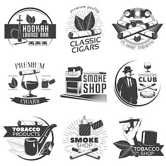 Conjunto de etiquetas de tabaco para fumar
