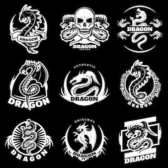 Conjunto de etiquetas de tatuagem de dragão branco vintage