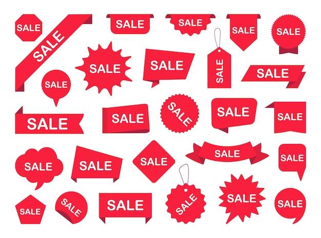 Conjunto de etiquetas de venda banners de fita vermelha etiquetas de venda para publicidade
