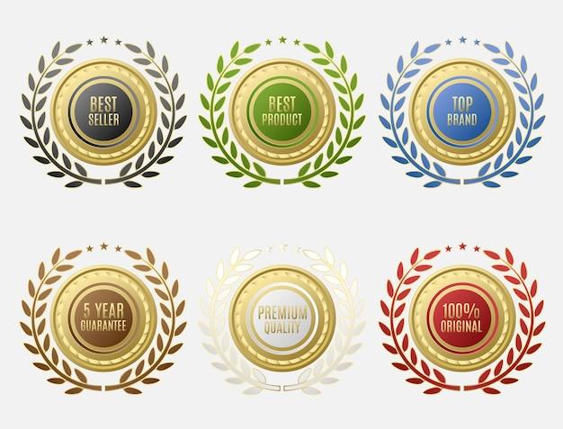 Conjunto de etiquetas de venda com formato redondo e disposição circular de folhas
