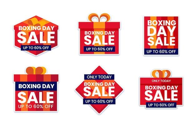 Conjunto de etiquetas de venda de dia de boxe plano