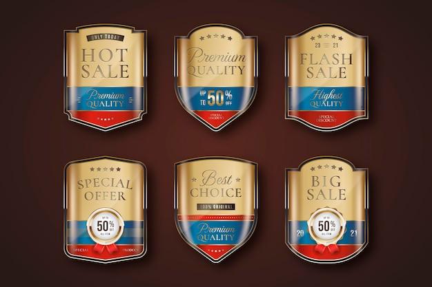 Conjunto de etiquetas de venda de luxo de ouro