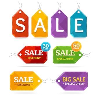 Conjunto de etiquetas de venda de roupas. oferta especial.