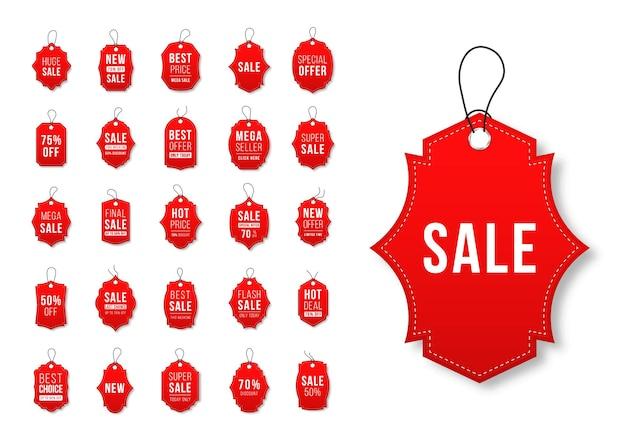 Conjunto de etiquetas de venda e etiquetas de compras de modelos