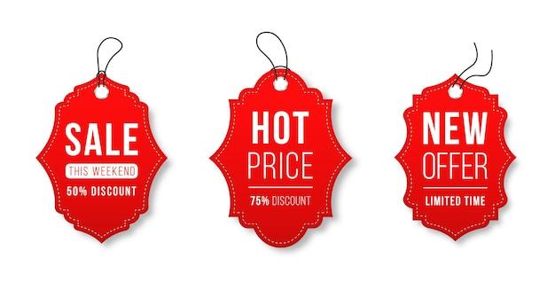 Conjunto de etiquetas de venda e modelo de etiquetas etiquetas de compras fita, emblemas de venda, banners, etiquetas de preços