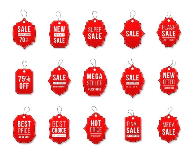 Conjunto de etiquetas de venda e modelos de etiquetas de compras