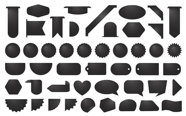 Conjunto de etiquetas de venda em preto e branco, emblemas promocionais ou modelos de adesivos
