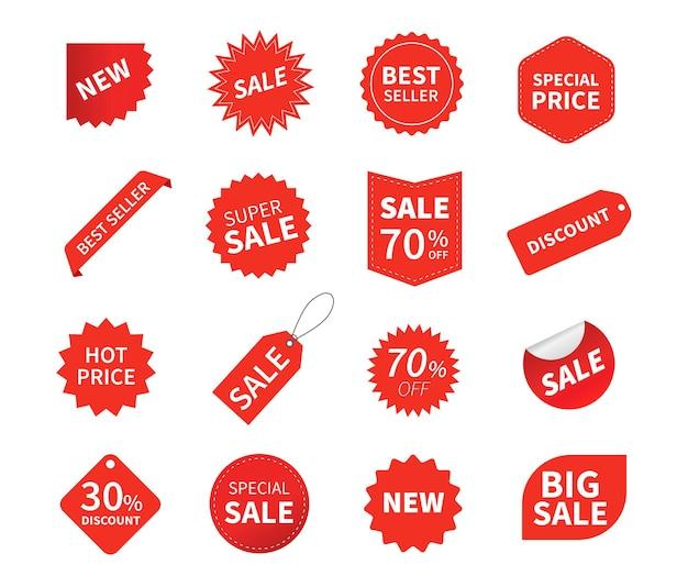 Conjunto de etiquetas de venda isoladas em branco