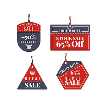 Conjunto de etiquetas de venda pretas e vermelhas