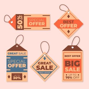 Conjunto de etiquetas de venda vintage