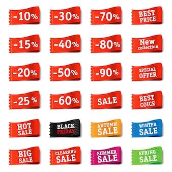 Conjunto de etiquetas de venda