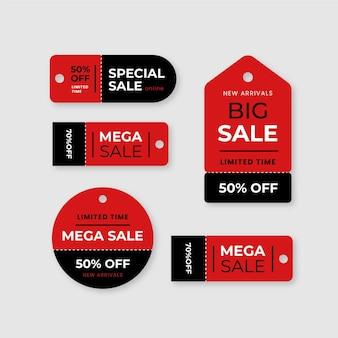 Conjunto de etiquetas de vendas de design plano