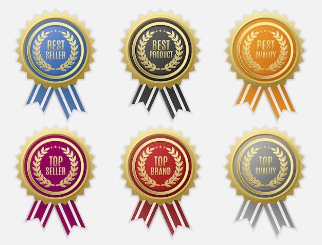 Conjunto de etiquetas de vendas redondas com fitas usadas para dar a um produto um nível de qualidade