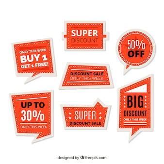 Conjunto de etiquetas de vendas