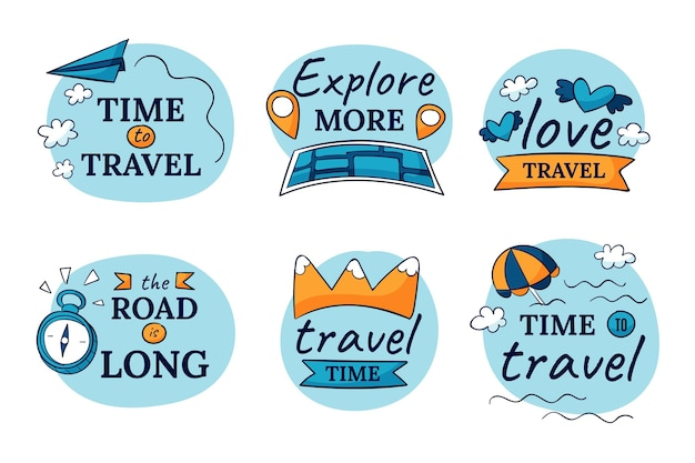 Conjunto de etiquetas de viagens desenhadas à mão