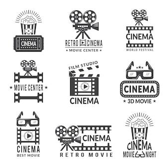 Conjunto de etiquetas de vídeo, emblemas de produção de cinema em estilo monocromático
