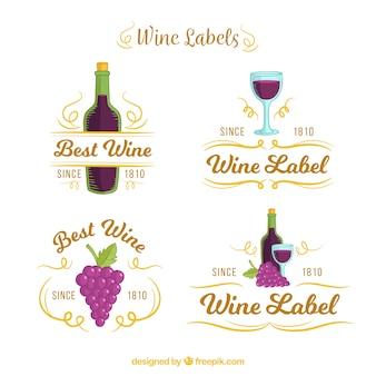 Conjunto de etiquetas de vinho com detalhes roxo