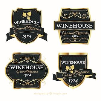 Conjunto de etiquetas de vinho elegante e dourado