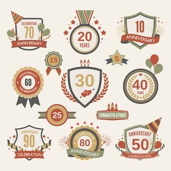 Conjunto de etiquetas do aniversário