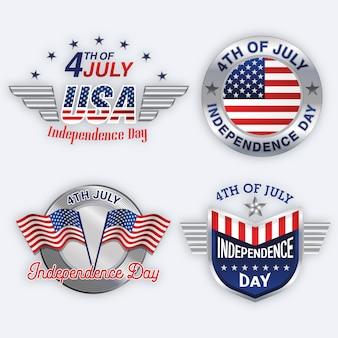Conjunto de etiquetas do dia da independência