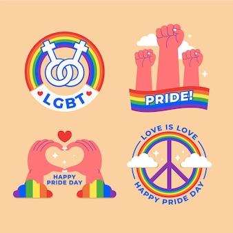 Conjunto de etiquetas do dia do orgulho de ilustrações