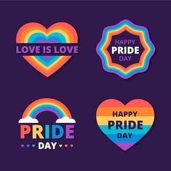Conjunto de etiquetas do dia do orgulho