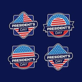 Conjunto de etiquetas do dia do presidente