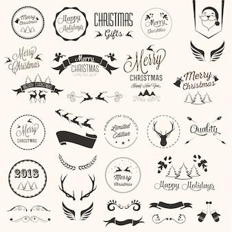 Conjunto de etiquetas do feliz natal