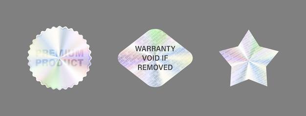 Conjunto de etiquetas do holograma isolar a etiqueta do holograma