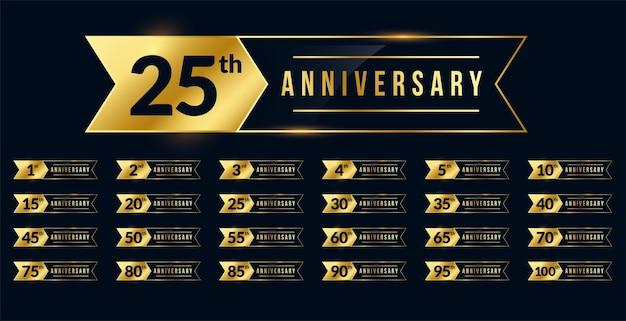 Conjunto de etiquetas douradas de aniversário estilo fita