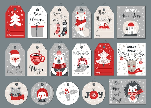 Conjunto de etiquetas e cartões de feliz natal com elementos de desenho de mão.