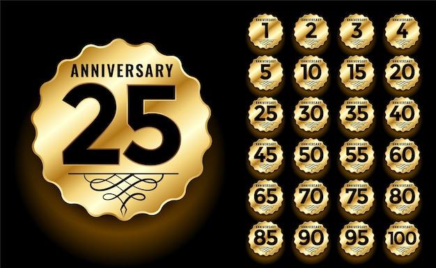 Conjunto de etiquetas e emblemas de aniversário dourado