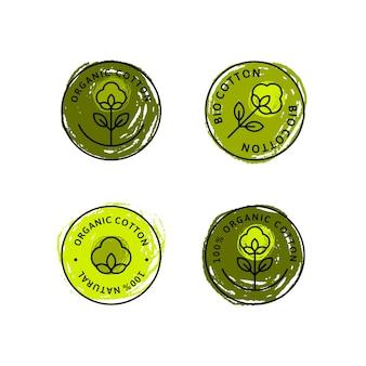 Conjunto de etiquetas e emblemas de forro de algodão orgânico natural - vector ícone verde redondo, adesivo, logotipo, carimbo, etiqueta flor de algodão isolada no fundo branco - pano natural logotipo plantas carimbo têxteis orgânicos