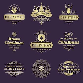 Conjunto de etiquetas e emblemas de natal