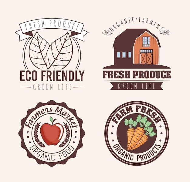 Conjunto de etiquetas ecológicas