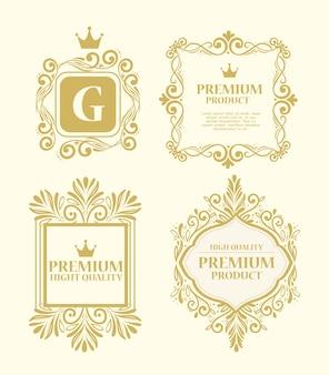 Conjunto de etiquetas em decoração luxuosa de ouro