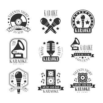 Conjunto de etiquetas em preto e branco de bar de karaokê