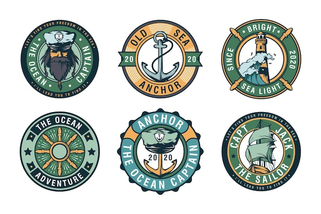 Conjunto de etiquetas, emblemas e logotipos de emblemas de vela