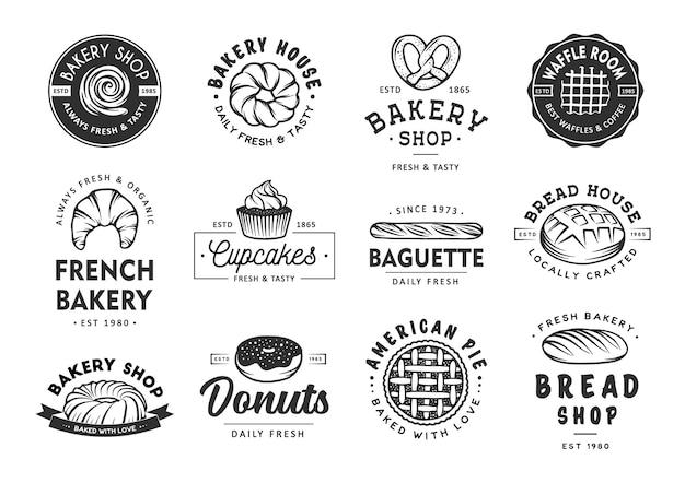 Conjunto de etiquetas, emblemas, emblemas e logotipo da padaria