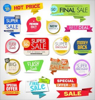 Conjunto de etiquetas, etiquetas, fitas e emblemas de venda
