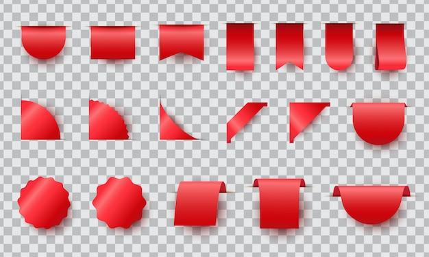 Conjunto de etiquetas fita vermelha realista. coleção de etiqueta de preço em branco