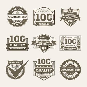 Conjunto de etiquetas garantidas de qualidade premium