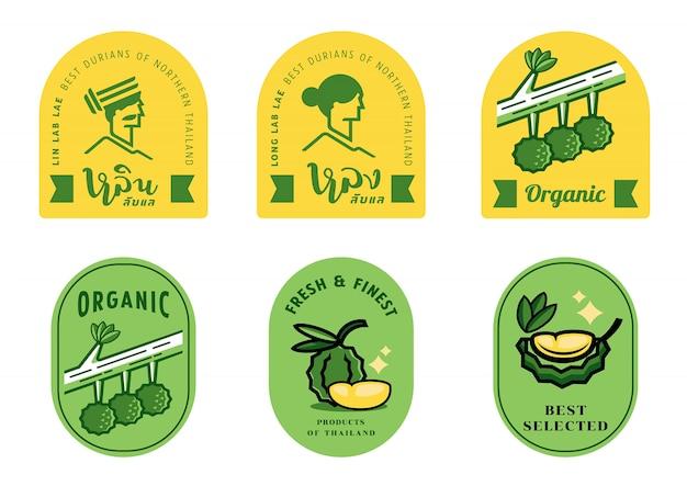Conjunto de etiquetas long e lin durian