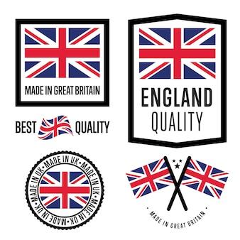 Conjunto de etiquetas made in britain