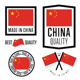 Conjunto de etiquetas made in china