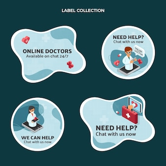 Conjunto de etiquetas médicas de design plano