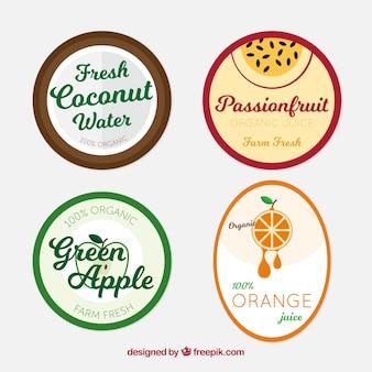 Conjunto de etiquetas minimalistas de frutas