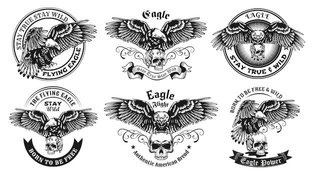 Conjunto de etiquetas monocromáticas com ilustração de águia e caveira