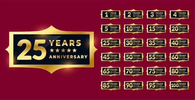 Conjunto de etiquetas ou emblemas de aniversário dourado brilhante