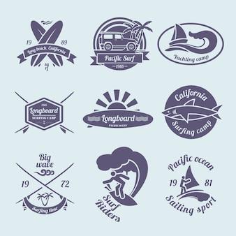 Conjunto de etiquetas ou emblemas de surf